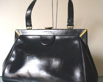 Vintage Margolin Navy Blue Doctor's Style Handbag