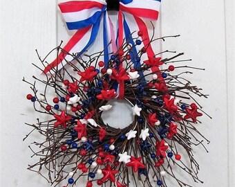 WREATH SALE READY To Ship - Mini Patriotic Wreaths - Window Wreath -  4th of July Wreath - Summer Decor - Americana Berry Wreath - Patriotic