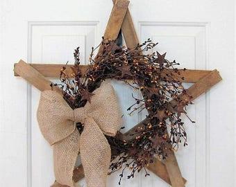 WREATH SALE Farmhouse Star - Fourth of July Wreath - Patriotic Front Door Decor - Rustic Star Wreath - Primitive Tobacco Lathe - Texas Star