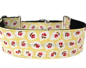 "Vintage Floral Dog Collar 2"" wide Martingale Dog Collar for Large Breed Dogs Flower Dog Collar"