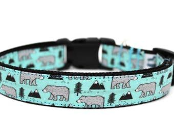 """Bear Dog Collar 3/4"""" or 1"""" Boy Dog Collar Mountain Dog Collar Outdoors Dog Collar"""