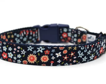 "Navy Floral Dog Collar 3/4"" or 1"" Flower Dog Collar Floral Dog Collar"