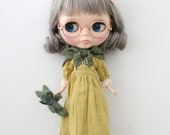 HANON Workshop kit (Long Dress Mustard color and Stole) for Blythe / *changed the lace