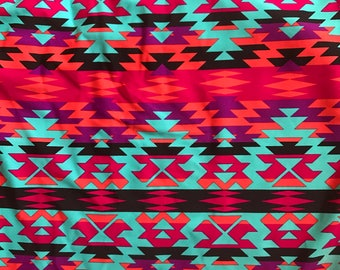 Swimsuit Fabric- Pink Aztec Tribal (1 yard)