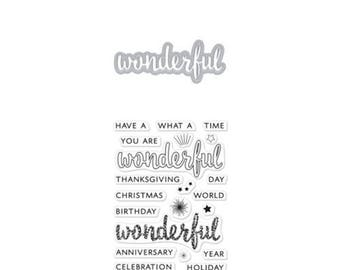 Hero Arts: DC214 Wonderful Stamp & Cut, Die Cut, Clear Stamp, Thanksgiving, Christmas, Birthday, Wonderful, Anniversary, Celebration, Merry