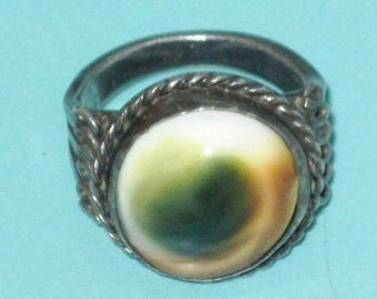 Nice Vintage Old Sterling Silver OPERCULUM Shell Ring Handmade