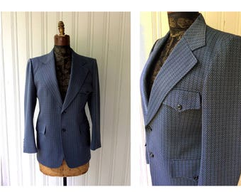 """vintage 1970s Blue Sports Jacket High quality Polyester Knit Chest 40""""  herringbone Belted Back Single Vent Purple Psychedelic lining"""