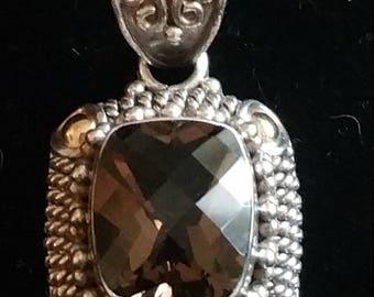 Vintage Sterling silver & 18kt Smokey Quartz Pendant