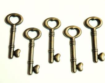 5 Heart Key charms medium vintage inspired steampunk antique bronze brass 52x20mm DB28014
