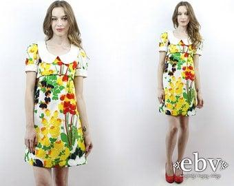 Dolly Dress Babydoll Dress Lolita Dress 60s Mini Dress 60s Floral Dress 60s Dress 1960s Dress 60s Mini Dress Puff Sleeve Dress Mod Dress XS
