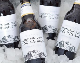 Mountain Wedding Beer Bottle Labels - Beer Labels - Custom Bottle Labels - Personalized Wedding Beer Label - Waterproof Sticker - #wdiBW-289