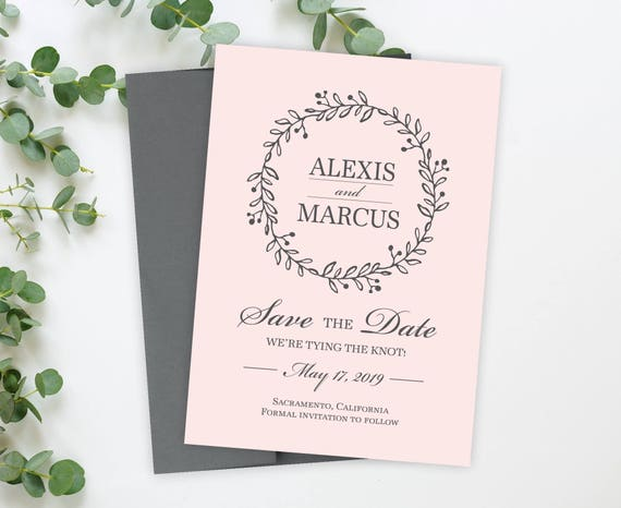 floral save the date cards 5 x 7 elegant wedding announcement