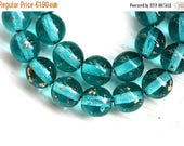 ON SALE Teal Gold Czech glass beads with golden sprinkles, round spacers, druk - 6mm -30Pc - 1122