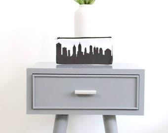 NEW YORK CITY Skyline Pencil Pouch. Pencil Case. Pencil Holder. Art Bag. Skyline Silhouette Purse. Gifts for Her. Back to School.
