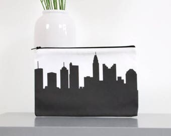 COLUMBUS Skyline Zipper Pouch. Skyline Purse. Skyline Clutch. Twill Clutch. Skyline Silhouette Purse. Gifts for Her. Bridesmaid Gift.