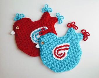 Crochet Pattern - Bird Potholder Crochet Pattern #309 - Bird Pot Holder Crochet Pattern - Bird Hotpad - Crochet Bird - Instant Download PDF