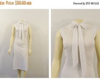 SALE Vintage Plus Size Dress 60s 70s Plus Size Vintage Dress Polka Dot White & Black Dress Neck Tie Secretary Dress Plus Size XL XXL 1X