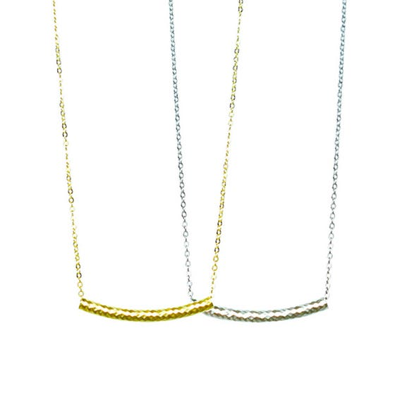 Textured Tube Pendant Necklace