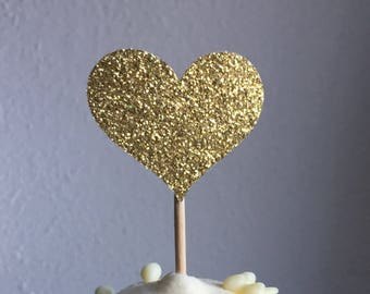 12 Heart Cupcake Toppers Large & Small  Sparkling GOLD HEARTS Wedding Cake Decorations