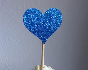 120 Sparkling ROYAL BLUE HEART Cupcake Toppers Wedding Cake Decorations Food Picks