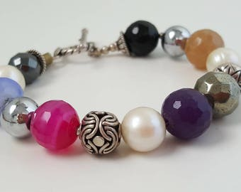 Natural Gemstones Bracelet with Pearls and Sterling Silver - Statement Jewelry - Women's Bracelet - Big Stones and Silver Bracelet - Toggle