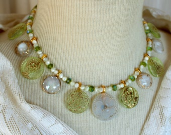 Antique glass button necklace vintage Czech green white gold clam broth jewelry choker feminine wedding mother of the bride