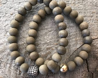 Matte gray wood and pave rhinestone and gold bead stacking stretch bracelet set