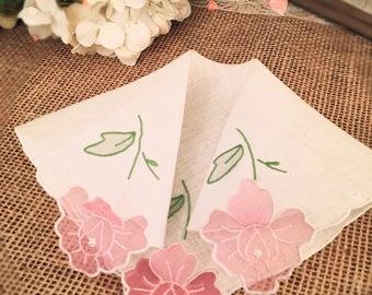Vintage Ladies Handkerchief, Wedding Hankie, Pink, Floral, Appliquéd, Bride, Bridesmaid Hanky