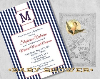 Navy Blue Baby Boy Shower Invitations with Monogram - Navy Blue and White Stripe with Red, All American Boy Printed Baby Shower Invitation