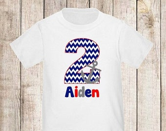 ON SALE Birthday Anchor Nautical Personalized Birthday Shirt - ANY Age