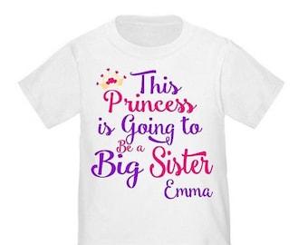 ON SALE Big Sister Princess Shirt Personalized T Shirt