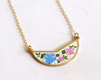 Gold Filled Floral Bib Necklace, Vintage Enamel Flowers Pendant, Layering Necklace, Pink and Blue Flower Pendant, Minimalist Necklace