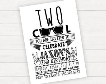 Two Cool Birthday, Two Cool Invitation, Two Cool Birthday Party, 2nd Birthday Invitation, 2nd Birthday Invite, Boy Birthday Invitations