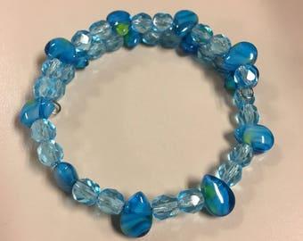 Blue drop beaded bracelet