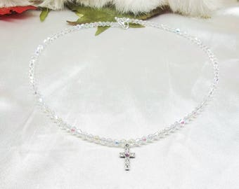 Pretty Cross Necklace Clear AB Crystal Necklace Adjustable Necklace 925 Sterling Silver Necklace BuyAny3+Get1 Free
