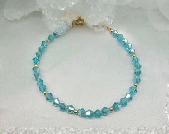 Light Blue Bracelet Aquamarine Bracelet Blue Crystal Bracelet 14k Gold Filled Bracelet BuyAny3+1Free