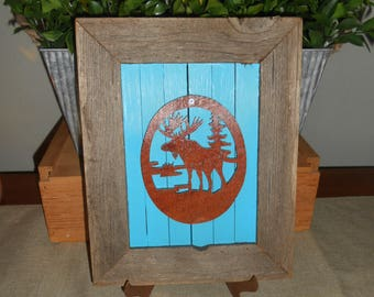 Rustic Wood Frame with Moose