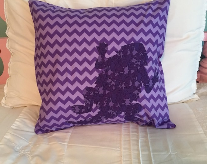 Purple Chevron TCU Horned Frog Pillow 16x16 Pillow Cover Purple with Purple Camouflage Applique Frog RTS