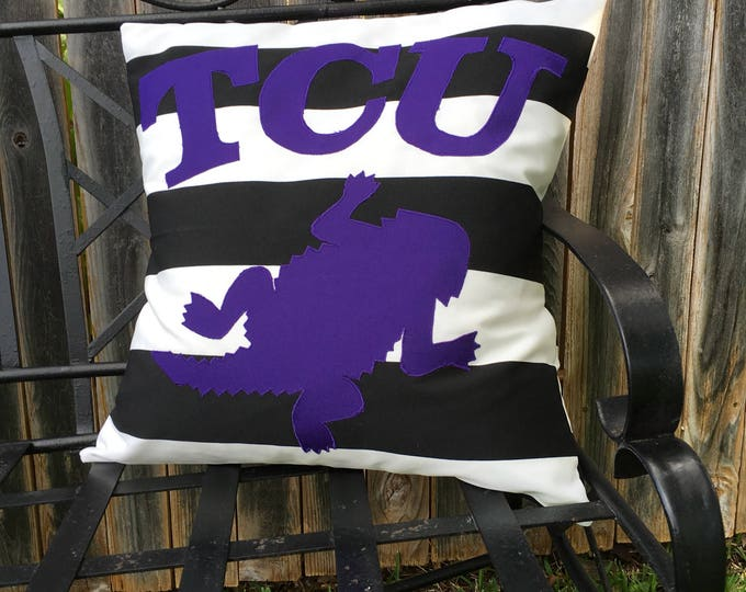 Black and White Striped Outdoor TCU Horned Frog Pillow 20x20 Pillow Cover with Purple Applique Frog and Lettering outdoor Decor Gameday
