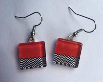 Twin Peaks - Black Lodge - Glass Tile Earrings