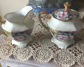 R S Germany hand painted porcelain creamer and sugar