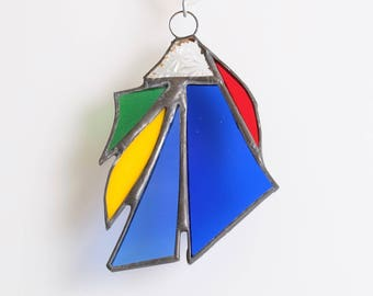 Blue green red abstract stained glass suncatcher