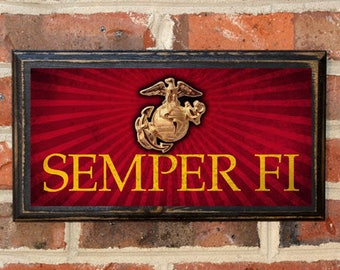 US Marine Corps The Few The Proud Semper Fi Always Faithful Wall Art Sign Plaque Gift Present Home Decor Vintage USMC Enlisted Antiqued