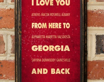 Georgia GA I Love You From Here And Back Wall Art Sign Plaque Gift Present Personalized Custom Color Home Decor Vintage Style Antiqued