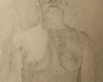Sketchbook page.  Figure study.
