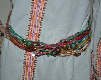 """Vintage Designer Belt Ginnie Johansen Dallas belt, wide brown leather belt wide 1 3/4""""  NEW Size M New vintage  Hippie Boho Costume belt hip"""