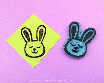 Bunny Head Rubber Stamp - Hand Carved Rubber Stamp – Scrapbooking Stamp – Card Making – DIY Stationery - Journal Stamp - Printmaking