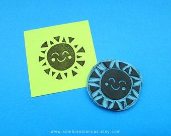 Happy Sun Stamp - Hand Carved Rubber Stamp – Scrapbooking Stamp – Card Making – DIY Stationery - Journal Stamp - Printmaking
