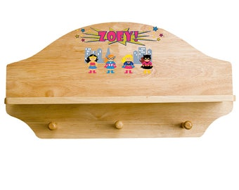 Personalized Girls Superhero Wooden Three Peg Shelf Wonder Pinks Yellow Accents shel-nat-227b