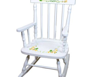 Personalized White Childrens Rocking Chair with Shamrock Design-spin-whi-344